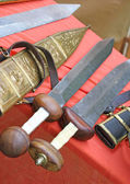 Swords at the market of medieval relics — Stock Photo