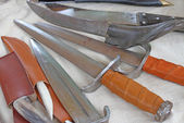 Collection of antique knives and hunting knives in the medieval  — Foto de Stock