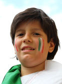 Portrait  of a young supporter before the football match of the  — Stock Photo