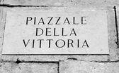 PIAZZALE DELLA VITTORIA written in piazza di monte Berico above  — Foto Stock