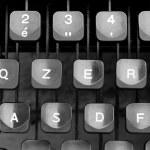 Some keyboard keys of an old typewriter — Stock Photo #48711855