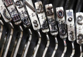 Detailed particular letters of an old typewriter ink stained 2 — Stock Photo