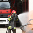 Fireman extinguishes the fire after car accident 1 — Stock Photo #51211367