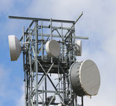 Signal repeaters televisions and mobile phone signal — Stock Photo
