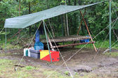 Patrol corner in a scout camp of survival — Stock Photo