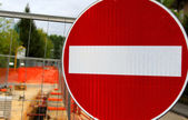 Prohibition sign in roadworks for the laying of underground cabl — Stockfoto