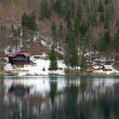 Lake of Fusine with the hut on the shore — Stock Photo #51636741