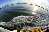 Adriatic Sea in backlight with fisheye lens — 图库照片