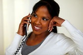 Charming relaxed woman speaking on phone — Stock Photo
