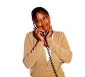 Lovely afro-american woman speaking on phone — Stock Photo