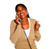 Happy afro-american woman speaking on phone — Stock Photo