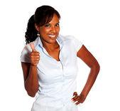 Positiv ung kvinna lyfta fingrarna upp — Stockfoto