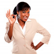 Charming businesswoman saying great job — Stock Photo #13532469