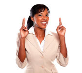 Young businesswoman crossing fingers — Stock Photo