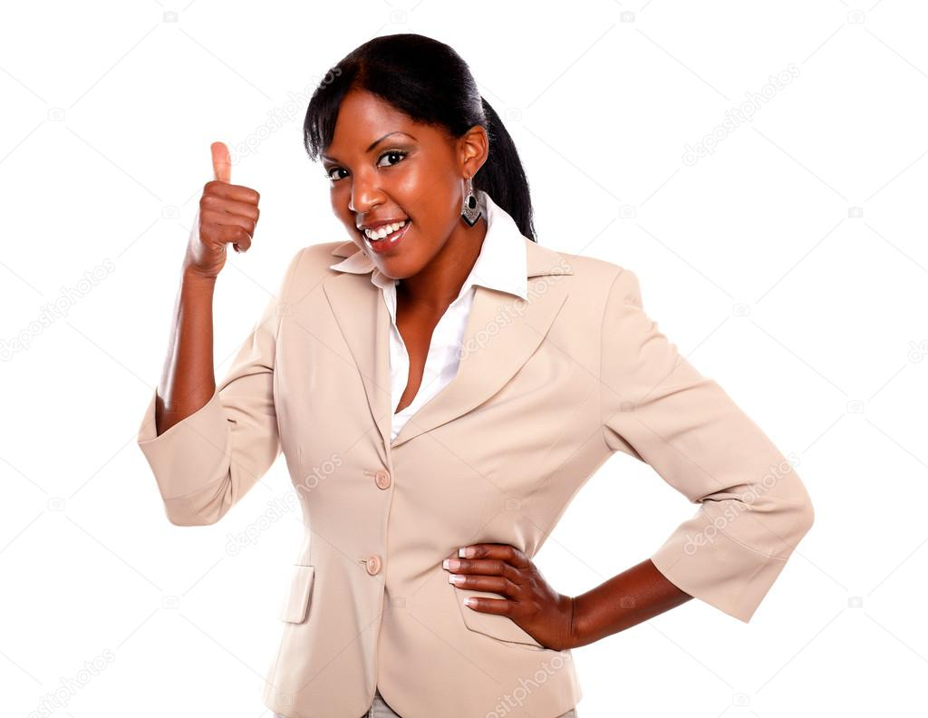 Adult businesswoman lifting the fingers up against white background — Stock Photo #13532460