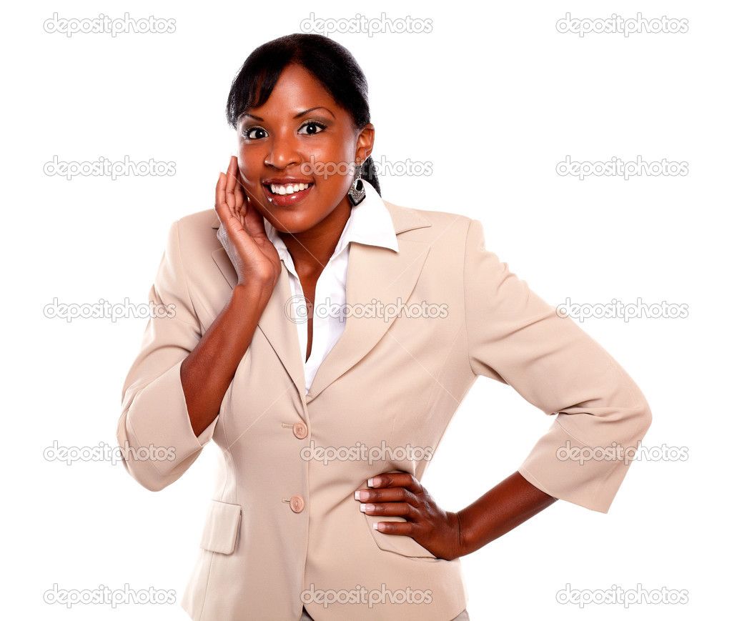 Surprised executive young lady looking at you on isolated background — Stock Photo #13532468