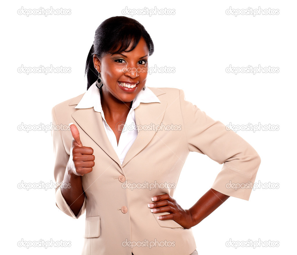 Charming businesswoman lifting the fingers up and looking at you on isolated background — Stock Photo #13532470
