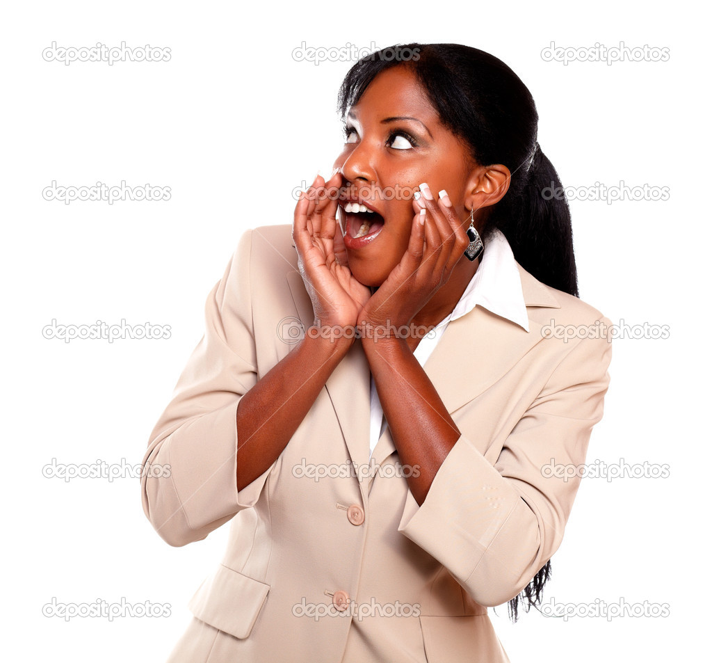 Charming businesswoman screaming and looking to her right on isolated background — Stock Photo #13532473