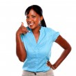 Pretty young woman on blue shirt saying call me — Stock Photo #13739127