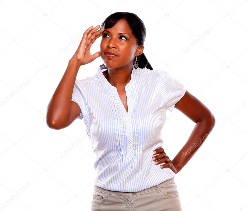 Stressed young woman with headache looking up against white background — Stock Photo #13738860