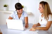 Charming businesswomen working together — Stock Photo