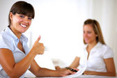 Charming businesswoman saying great job — Stock Photo