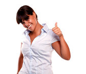 Happy young woman saying great job looking at you — Foto Stock