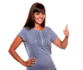 Charmig young female saying great job — Stock Photo