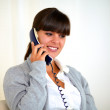 Stylish young woman speaking on phone — Stock Photo