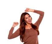 Happy young woman celebrating a victory — Foto Stock