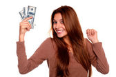 Charming young woman with cash money — Stock Photo