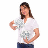 Charming asiatic young woman with cash money — Stock Photo
