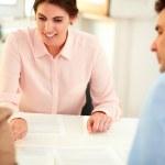 Financial advisor lady explaining application form — Stock Photo #39833083