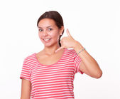 Pretty latin girl with call gesture — Stock Photo