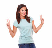 Beautiful adult lady with victory sign — Stock Photo