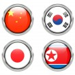 Flags of China, Japan, South Korea, North Korea — Stock Photo