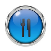 Glossy cutlery icon — Stock Photo
