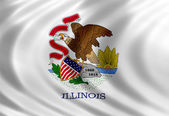 Illinois flag of silk — Stok fotoğraf