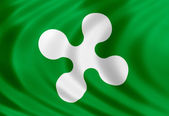 Lombardy flag of silk — Stock Photo