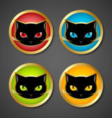 Black cat head icons — Stock Vector