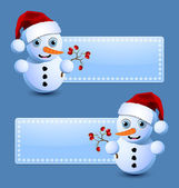 Cute little snowman banners — Stock Vector