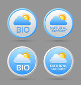 Bio and natural product badge icons — Stock Vector