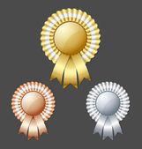 Golden silver and bronze metallic rosettes — Stock Vector