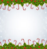 Holly and candy canes Christmas decoration — Stock Vector
