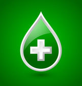 Green blood medical icon — Stock Vector
