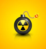 Black nuclear bomb — Stock Vector