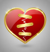 Broken and repaired heart icon — Stock Vector