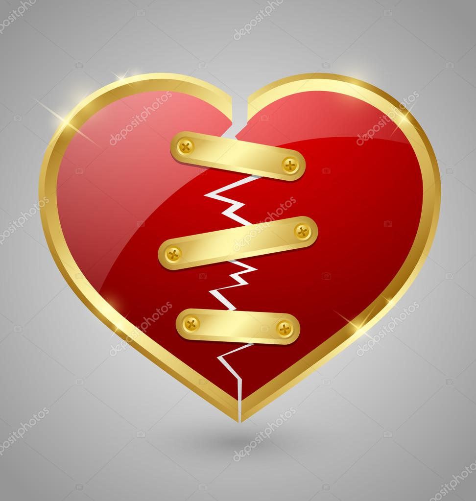 Broken and repaired heart icon isolated on grey background — Stockvektor #18717955