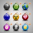 Stock Vector: Burning bomb icons
