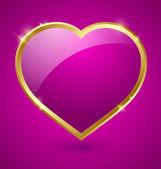 Corazón púrpura y oro — Vector de stock